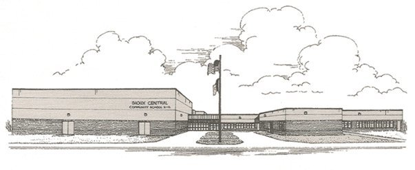 Drawing of Sioux Central's Building